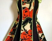 Vintage inspired Halloween apron - Pumpkin Party stylist / kitchen apron by XO Skeleton Creations - Alexander Henry fabric