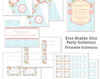 PRINTABLE Full Collection - Blue Shabby Chic Party Collection - Dandelion Design Studio