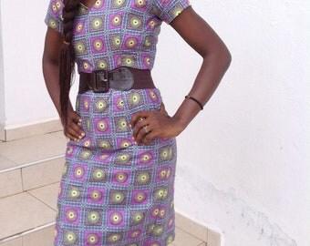 African Women's Dress || Blue Terry Ankara Dress || Evening Dress