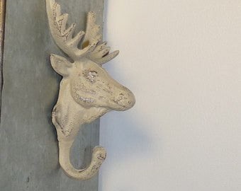 Cast Iron Moose Hook, Wall Mounted Hook/Hanger, Shabby Chic Decor, Cabin Decor, Man Cave, Game Room, Patio, Rustic Decor, Vintage