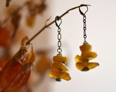 Amber earrings - chain earrings - Baltic amber earrings - boho earrings - dangle earrings - amber drop earrings - labradorite earrings