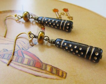 FREE SHIPPING: Victorian Art Deco Black & Gold Earrings Etched Cylinders Dangle