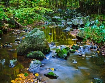 Nature Photography, Magical Creek, Metal Print, Wall Decor, Nature Spirits, Fairy Land, Enchanted Forest, Blue Green Yellow, Autumn Colors