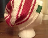 20% OFF!! - End of Summer Sale! EHAH Beanie (White and Red) - Slouchy Beanie