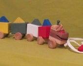 "Wooden Handmade 17"" Dinosaur  Pull Toy - Non-toxic Paint & Water Base Varnish"