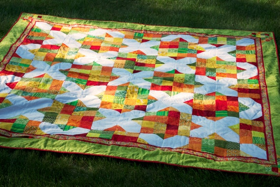 Handmade Star Patchwork Quilt in Red Tangerine Green and White Printed Cotton with Hidden Zipper Pocket