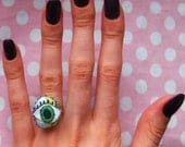 Stitched, Fabric Eye Ring with Green Beads