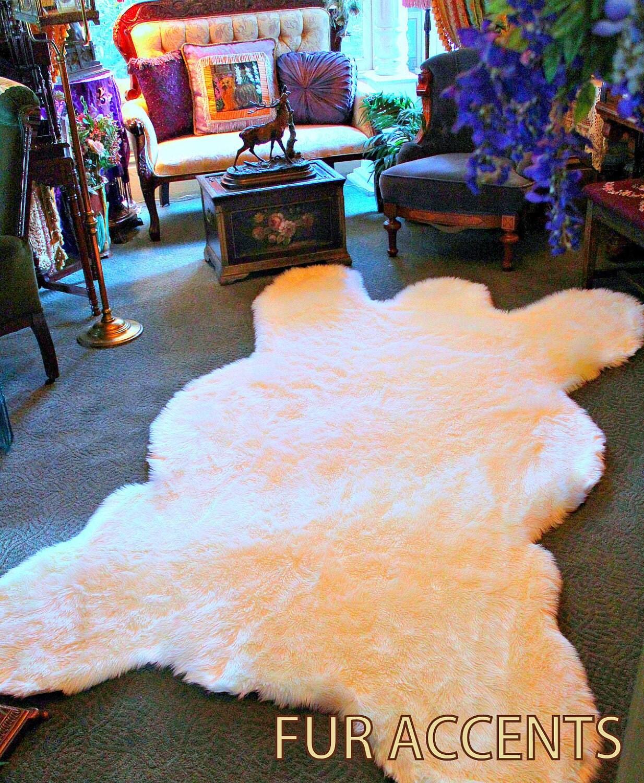 FUR ACCENTS Faux Fur Bear Skin Accent Rug / Life Size Polar