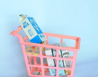 Sale Vintage Doll Size Shopping Cart - Grocery - Pink Plastic with Cardboard Groceries 1970's