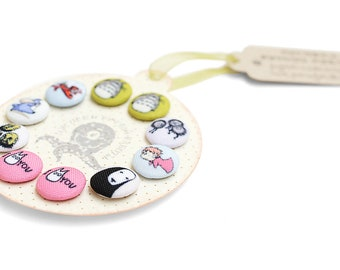 Fabric covered buttons handmade colorful little round TOTORO Buttons Miyazaki' cartoons