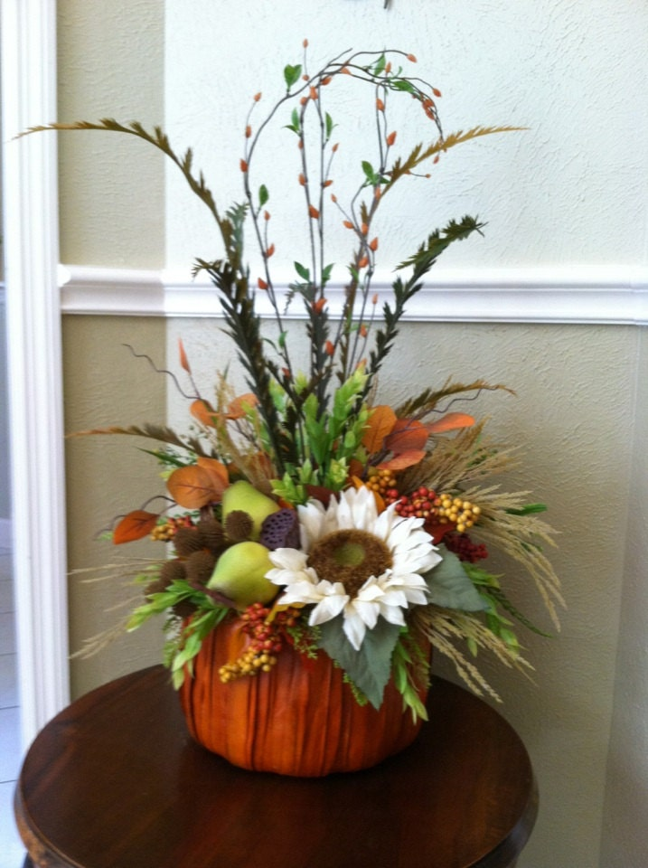 Fall pumpkin arrangement thanksgiving centerpiece autumn