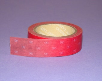 Washi Tape Roll Cute Dark Pink Bows Ribbon Kawaii Stationery Scrapbooking Sticker Deco 15mm x 10m