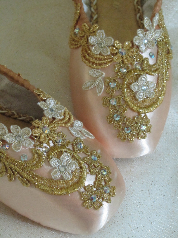 Gold Encrusted Keepsake Decorated Pointe Shoes Sleeping