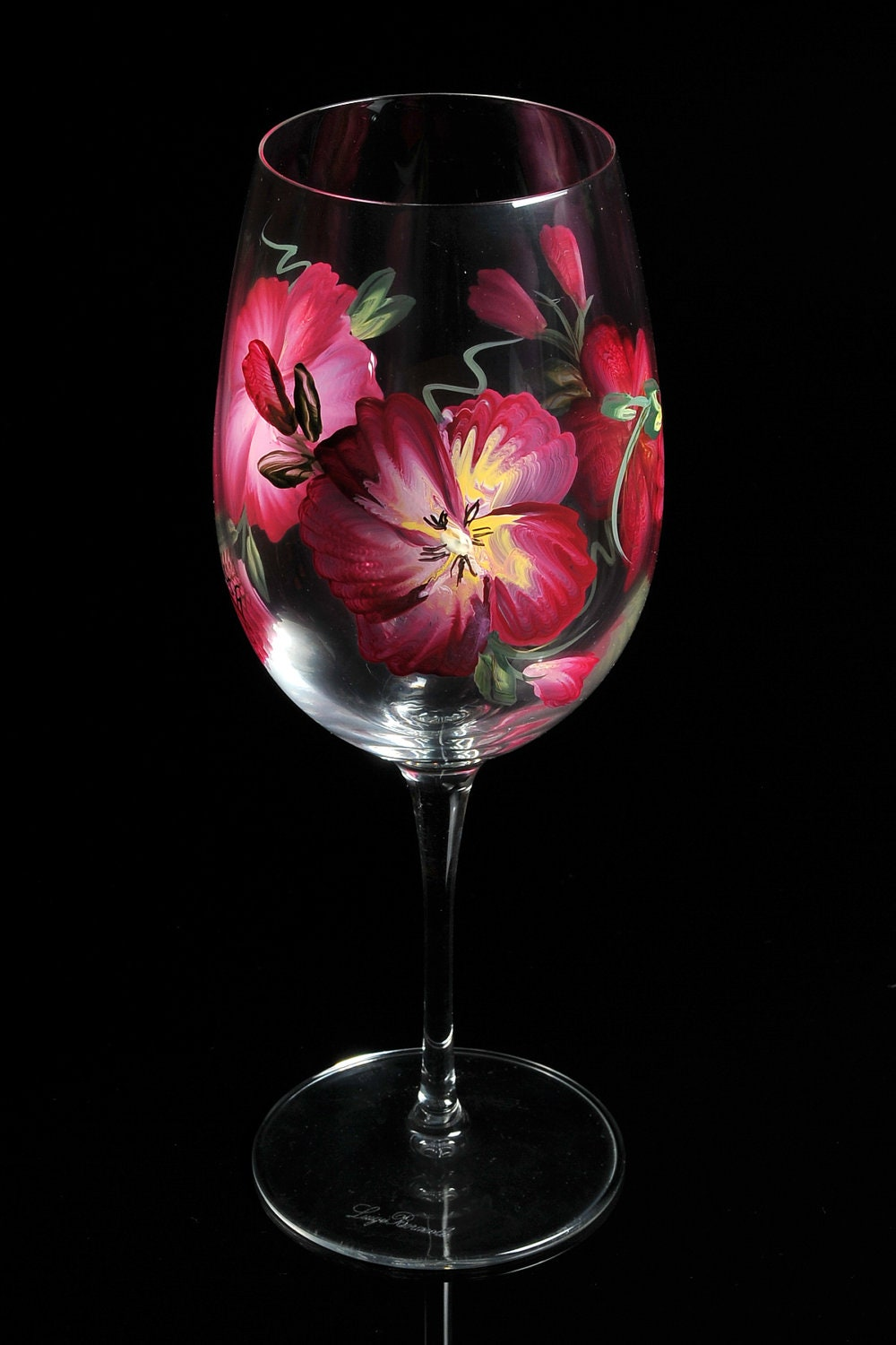 Hand painted crystal wine glasses l for Paintings of crystals