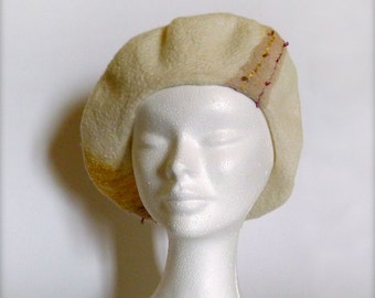 White and yellow Merino and silk hand felted beret