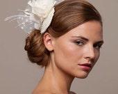 Ivory Bridal headpiece, Fascinator, Wedding hat, Veil