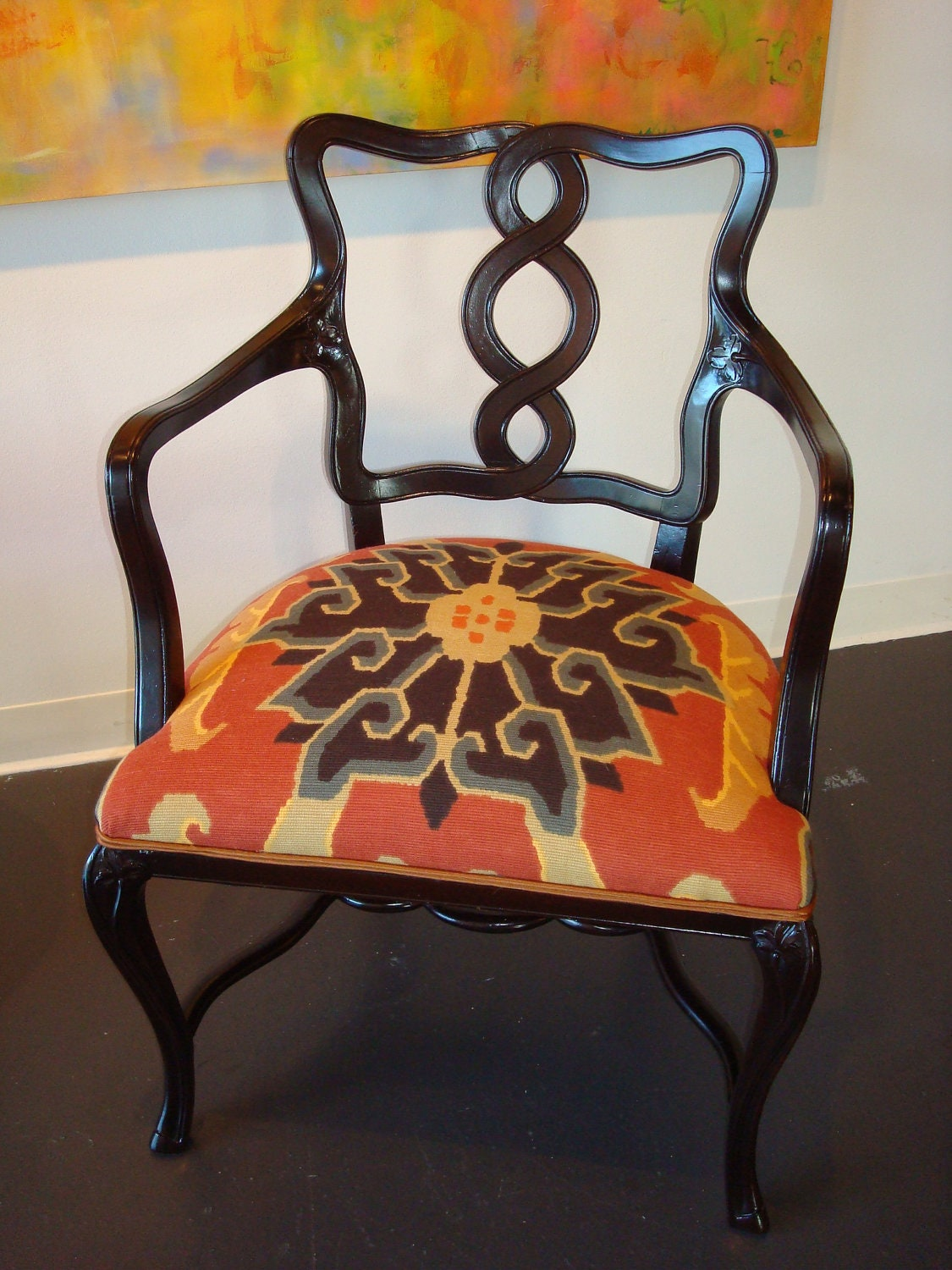 SOLD Upcycled Vintage Armchair with Orange Suzani Fabric Seat