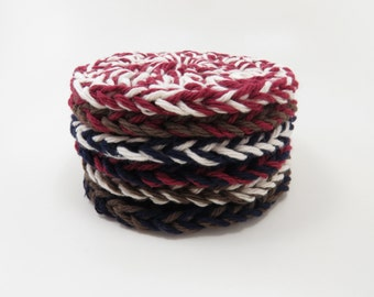 Nautical Crochet Coasters - Set of Six - READY TO SHIP - Handmade Cotton Coasters