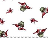 STASH BUSTER SALE Fabric Fresh Fallen Snow Falling Birds White Maywood Studios Christmas Kris Lammers 1/2 yard
