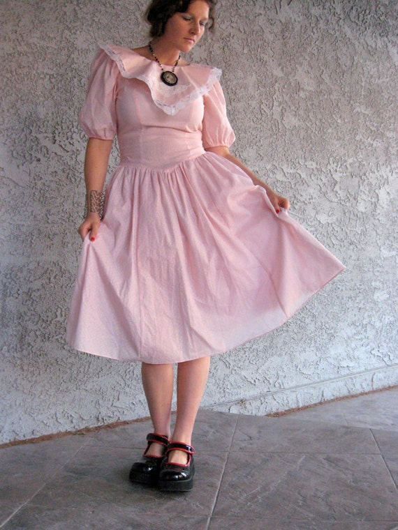 Whimsical Pink Prairie Dress with Lace Details - Wonderland, Boho, Milkmaid, Alice, fairytale, size S / XS