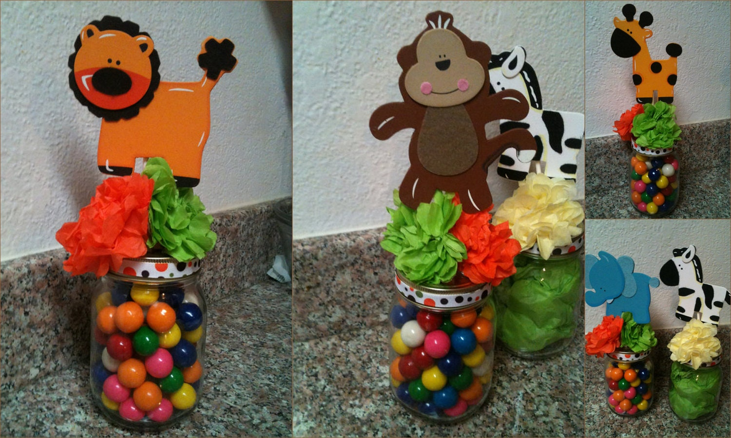 Jungle safari jar centerpieces for baby by annettespartyfavors for Baby shower safari decoration