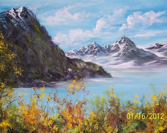 Original Oil Painting Of Barioloche, Argentina 16 x 20