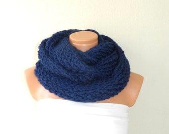 Knitted Dark Blue infinity Scarf. Block Infinity Scarf. Loop Scarf, Circle Scarf, Neck Warmer. Navy Blue Crochet Infinity