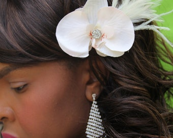 """blush and cream colored orchid with crystal and antiqued feather detailing, hair clip """"Suzanne"""""""