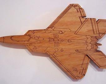 F-22 Raptor Wooden Fridge Magnet