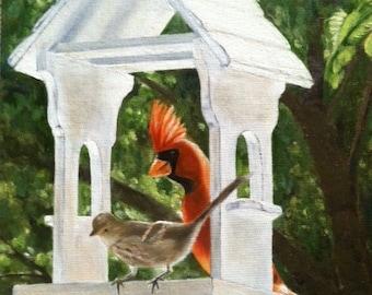 "Art greeting cards ""Funk's Bird Feeder"""