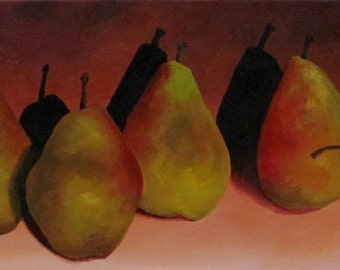 Original Daily Painting by CES - Still Life Pears Row Peach Orange Green Fruit Kitchen ART 20x8