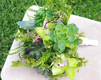Wedding Natural Touch Succulents and Orchids Silk Flower Bride Bouquet