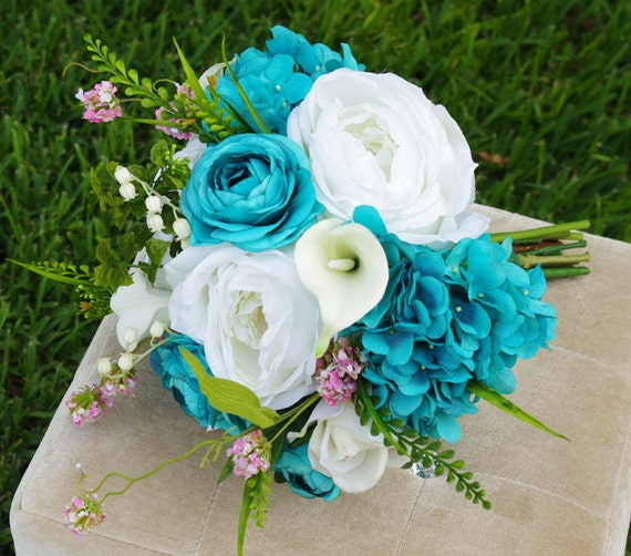turquoise wedding flowers wedding teal turquoise touch roses silk flower 8122