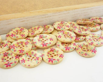 Wood Sewing Buttons, Pink Petite Flower  (25mm 6pcs set)