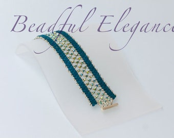 Turquoise Jade Empress Swarofski Crystal Woven Beaded Bracelet Wedding Accessory Accent