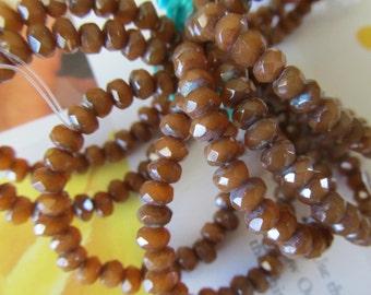 Faceted Czech Glass Bead, Brown Czech Glass Rondelle, Rust pressed glass beads, Brown Czech Faceted Rondelle, 1 Strand