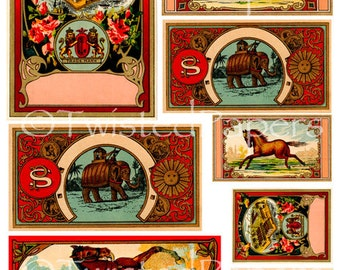 TEXTILE LABELS, Vintage 1890s Fabric Dye Bottle Labels Digital Collage Sheet 002