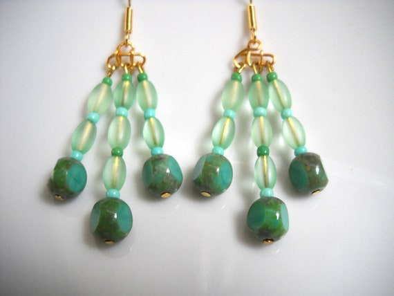 Green and Gold Seaglass Chandelier Earrings