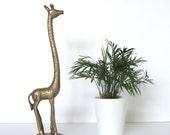 Tall Brass Giraffe, Mid Century Modern Vintage Home Decor