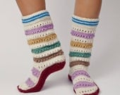 Women's Hand Knit Wool Sock - Warm, Bulgarian Slipper for Winter: Zora