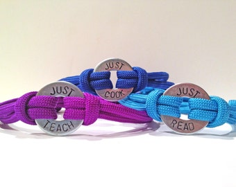 Personalized One Washer Double Strap Paracord Bracelet - Just Teach, Just Cook, Just Read, Just Style, Just Live, Just Dream