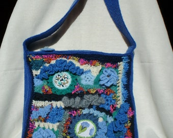 freeform crochet bag and fabric insert, handmade wool bag crochet