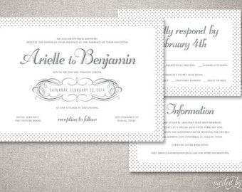 "Classic Polka Dot ""Arielle"" Wedding Invitations Suite - Traditional Modern Diamond Pattern Invitation - Digital Printable or Printed Invite"