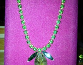 Vintage Green Rhinestone Necklace with attached Pendant