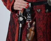 Leather Clad Patchwork Glass Bottle - Perfect for Renaissance, Pirate, or Steampunk Cosplay