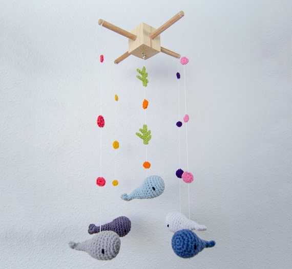 Items similar to Whales Crochet Mobile - Baby Mobile ...