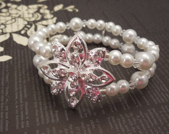 Very Gorgeous, Two Strand 6mm and 8mm  White Glass Pearl & 4mm Clear Swarovski Crystal Elastque Wire Bracelet with Rhinestone Flower Pendant