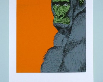 Screen Printing - Monkey orange, green & grey