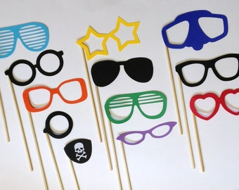 1 Dozen Photo Booth Glasses - Photo Booth Props - Wedding Photo Booth - Grad Photo Booth