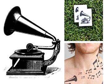 Gramophone - temporary tattoo (Set of 2)